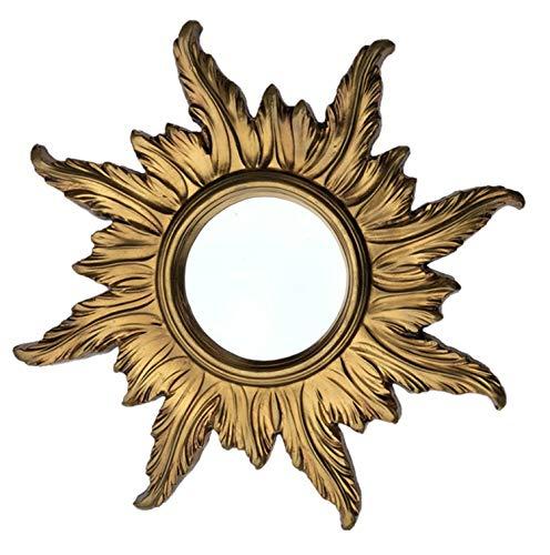 Lnxp BAROCK ANTIK WANDSPIEGEL Sonne IN Gold 56x56 cm RUND RUNDER REPRO Spiegel Sun Zeitloses Design