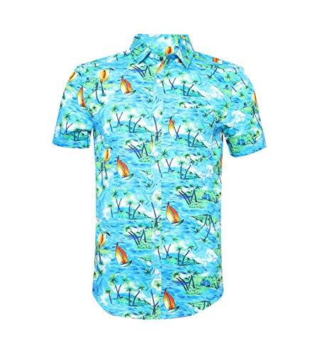 Nutexrol Herren Lässiges Hawaiihemd Kurzarmhemd mit Blumenaufdruck Sommerhemd Strand Palmen Meer Grün XXL