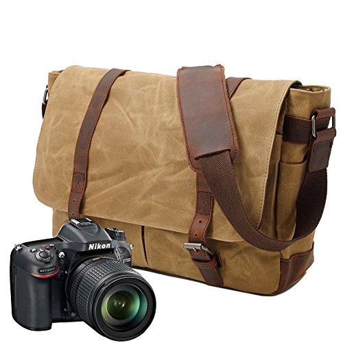 Neuleben Vintage Wasserdicht Kamertasche Aktentasche herausnehmbar Kamerafach Canvas Leder Umhängetasche Fototasche für DSLR Objektiv Laptopfach Update (Khaki)