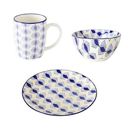 B.o.l.t.z.e 1 x Tasse, Schale & Teller Karita Porzellan blau, Wunschmodell:Links Links Teller-set