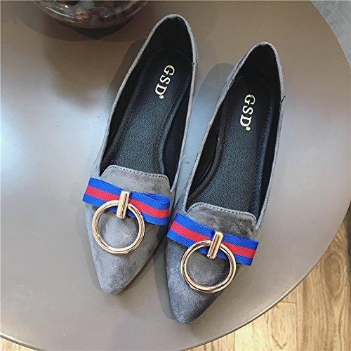 WYMBS Nouveau printemps chaussures unique bouche peu profonde a souligné les grands chantiers loisirs télévision avec des femmes les chaussures plates Black
