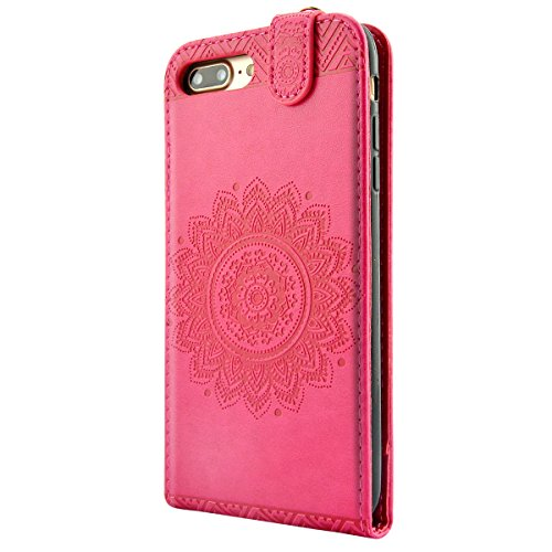 iPhone 8 Lederhülle, iPhone 7 Ledertasche - Fraelc UltraSlim 360 Grad Klapphülle Flip Case mit Karte Halter und Standfunktion Leder Schale für Apple iPhone 7 / iPhone 8 (4,7 Zoll) im Henna Motiv Desig Rosarot