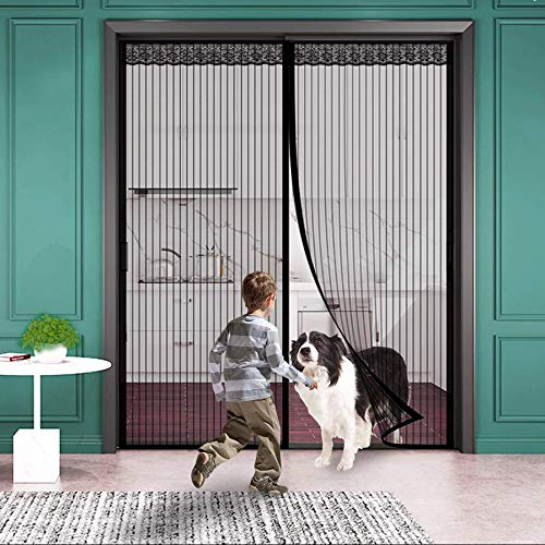 SODKK Magnet Fliegengitter Tür, Magnetischer Fliegenvorhang Moskitonetz, Auto geschlossen, faltbar Luft kann frei strömen, for Türen/Patio - Schwarz 140x250cm(55x98inch) -