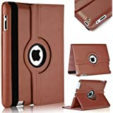 PU Leather 360 Degree Rotating Stand Swivel Case Folio Cover For Apple iPad 4 3 2 (Brown)