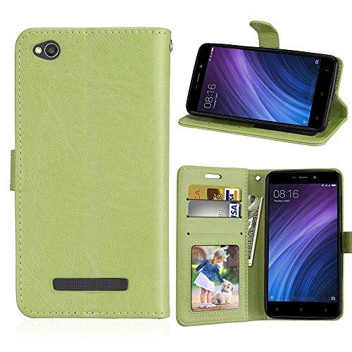 Xiaomi Redmi 4A Case,Xiaomi Redmi 4A Case,Leather Cases Premium PU Leather Wallet Snap Case Leather Cases Leather Cases Flip Cover for Xiaomi Redmi 4A Green Green Shell Snap