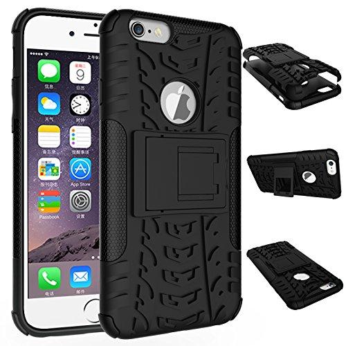 BCIT iPhone 6 6S Cover - Alta qualità Doppio Strato ibrido Cellulari Case Custodia protettivo Per iPhone 6 6S - Nero Nero