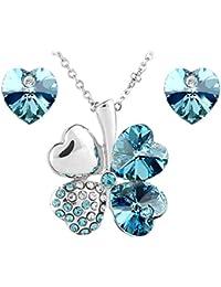 Le Premium® Schmucksache-gesetzte Klee-Anhänger Necklace + Bolzen-Ohrring-Herz geformte SWAROVSKI Aquamarinblau Kristalle