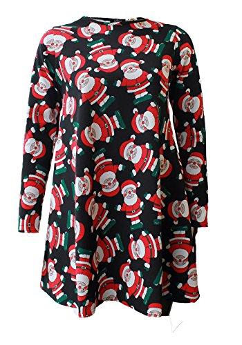 Fashion 4 Less - Robe - Robe de swing - Manches Longues - Femme - Black Santa