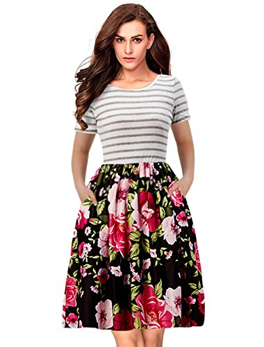 Goodstoworld Damen Strandkleid Streifen Sommerkleid Rock Mädchen Blumen Drucken Abendkleider Kleider Frauen Mode Kleid Minikleid S