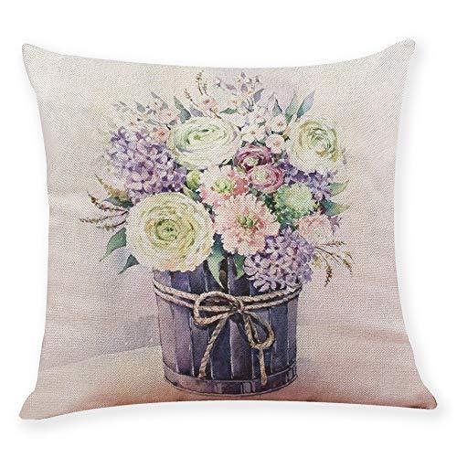Doingshop - Funda de Almohada con diseño de Flores y muelles, Cuadrada, Decorativa, para sofá, sofá o hogar