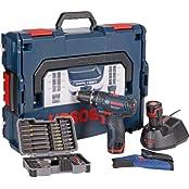 Bosch Akkubohrschrauber-Set GSR 10,8-2-LI Professional blau L-BOXX, 2x Akku (1,3 Ah), Bitset 43 tlg. (Heimwerken)