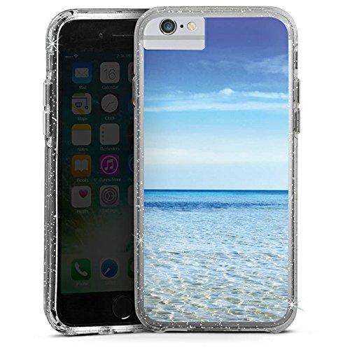 Apple iPhone 8 Bumper Hülle Bumper Case Glitzer Hülle Horizont Meer Mer Bumper Case Glitzer silber
