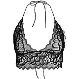Eleery Lace BH Floral Lace Bralette Halter Bustier Crop Top mit Choker Unterwsche Dessous, Schwarz, L