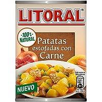LITORAL Guiso de Patatas Estofadas con Carne - Plato Preparado Sin Gluten - Paquete de 10 x 420 gr - Total: 4.2 kg