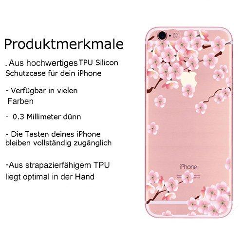 iPhone Hülle,EinsAcc Weiche TPU UltraThin Hülle für iPhone 5s SE 6s Backcover Case Cover (Für 6s 4,7'', Blumen 7) Blumen 6