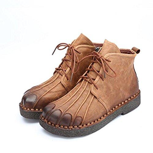 Vogstyle Femmes Main en Cuir Véritable Mère Chaussures Style-1 Chameau