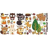 iTemer Pegatinas pared decorativas Stickers Vinilos decorativos pared dormitorio Decoracion pared Elegante y hermoso Patrón de color Bosque Animales 63 * 30cm 1 set