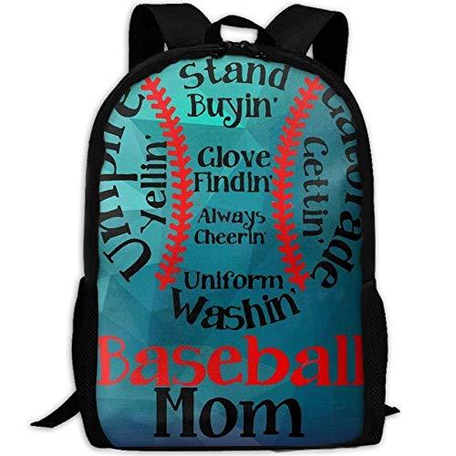 Mama Baseball Jersey (Neue lustige Baseball Familie Mama 3D Print Rucksack College School Laptop Tasche Daypack Reise umhängetasche für Unisex)