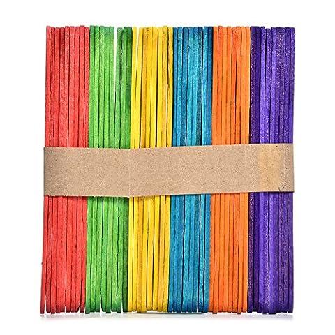 50pcs coloré en bois Lollipop Popsicle Stick Bâton de crème glacée enfants à la main Artisanat outils de bricolage, Bois, coloré, C: 11.4*1*0.2cm