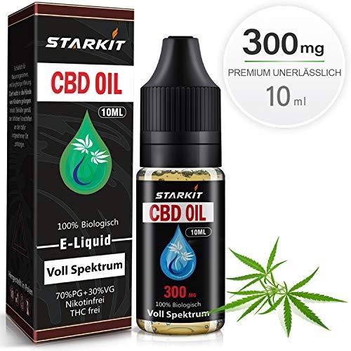 STARKIT® CBD Liquids Vollspektrum 300mg,Vape Öl 10ml mit 3{a9a340ddd6472f10f5fbdfe6d43b302b888473c3d53753065836cbdd82b3f493} Cannabidiol Hanf Öl für E Zigaretten Starter Set SMOK E Shisha, PG70/VG30 E Liquid, ohne Nikotin, ohne THC (Vollspektrum, 300mg)