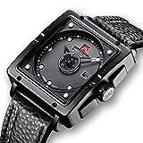 Relojes de Hombre Negro Relojes de Pulsera Deportivo Impermeable Diseño de Cuero Reloj Hombres...
