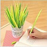 VStoy Poo, Penna a sfera con inchiostro nero, motivo: foglie d'erba, colore: verde prato, in silicone, confezione da 12
