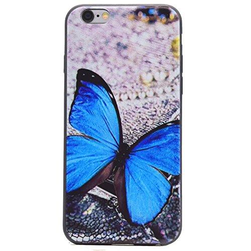 Cozy Hut Handy-Hülle für Apple iPhone 6S / 6 (4,7 Zoll) weiß / Rein schwarz   Ultra Slim Cover für Apple iPhone 6S / 6 (4,7 Zoll) Schutz Hülle TPU Case Schutzhülle Silikon Smartphone Case Tasche Dünn  Blue Butterfly