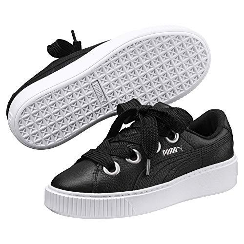 Puma Platform Kiss Leder Damen Sneaker Black-White-Metallic Beige -