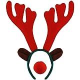 NEW Brown reindeer antlers aliceband red nose fancy dress Christmas Celebrations