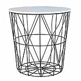 Clayre & Eef 6Y2205- 6Y2205 Tisch Beistelltisch Tischplatte weiß ca. Ø 40 x 40 cm