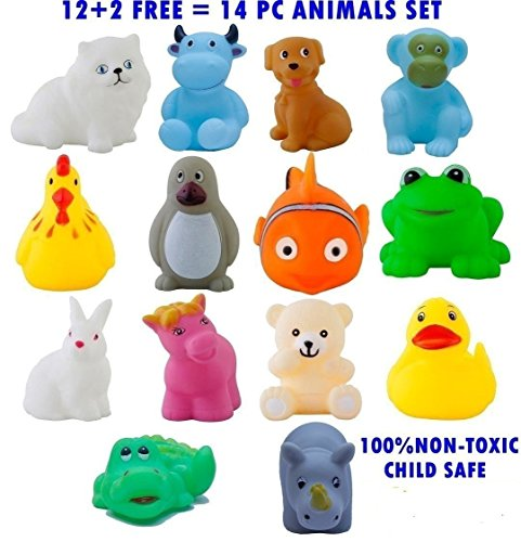 Magnifico™14 Piece Toddler Baby Bathtub Bathing Chu Chu Squeeze Bath Toys Non-Toxic BPA Free, Animal Shape