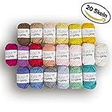 Matassa 20% cotone 100mini filato, totale 499gram ogni 24,9gram (25g)/65Yrds (60M), chiaro, DK, pettinata filo in colori assortiti