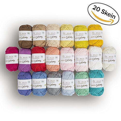 20 Skein0 Cotton Mini Yarn, Total 17.6 Oz Each 0.88 Oz (25g) / 65 Yrds (60m), Light, Dk, Worsted Assorted Colors Yarn