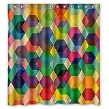 Bunte Dreiecke Viereck Muster Polyester Gewebe Custom Shower Curtain, 66' x 72' £¨about 168cm x 183cm)