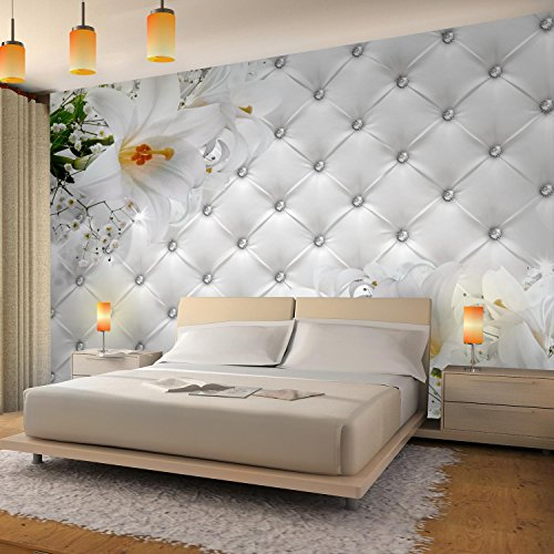 Fototapeten Blumen 3D Lilien Weiß 352 x 250 cm Vlies Wand Tapete ...