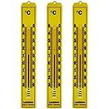 Lantelme 4126 3 pieza set Analog Interior, Exterior, Jardín Termómetro. Plástico Amarillo estampado
