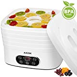 Aicok Dehydrator 5 Tray Food Dehydrator, Electric Fruit Dryer Machine with Timer and Adjustable Temperature Control, 240W, White