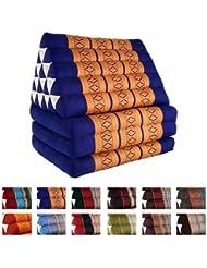 Coussin Thai - Pouf - Triangulaire - Capoc/coton - Avec assise 3 plis - Jumbo XL - Freedom Beach - Bleu/jaune