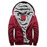 Herren Winterjacke,Moonuy Herren Boy M-5XL Hoodie Winter Warm Fleece Reißverschluss Pullover Charme Stilvolle Jacke Patchwork Hot Outwear Baumwollmantel in grau, rot, schwarz (Rot 2, 3XL)