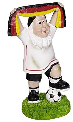 Gartenzwerg Deutschland Fan mit schwarz, rot, goldenem Schal und Fussball in Siegerpose Fanartikel Ideal zur WM Weltmeisterschaft Russland 2018 Garten Dekoration