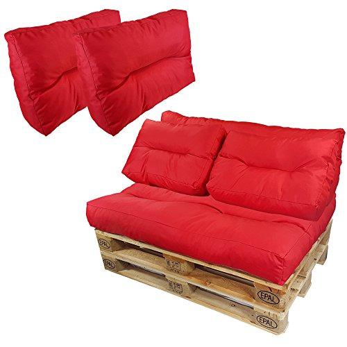 proheim Palettenkissen Lounge 3er Set - 1 Sitzpolster + 2 Rückenkissen in Rot Sitzkissen für Europaletten Paletten-Sofa - 3