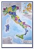 Close Up Mappa Italia Fisico Politico Karte von Italien (94x63,5 cm) gerahmt in: Rahmen Blau