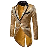 KPILP Sakkos Men's Anzugjacken Tuxedo Fashion for Party Handsome Oberteile Charm Casual One Button Fit Suit Blazer Coat Jacket Autumn Winter(Gold,EU-54/CN-M