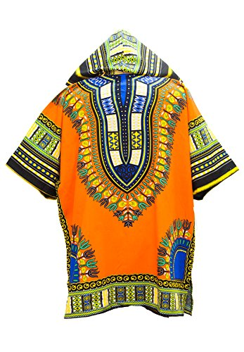 Lofbaz Unisex Dashiki Traditionelles Oberteil mit afrikanischem Druck Design #1 Orange