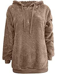 a17eb6f588b5 Lazzboy Womens Sweatshirt Hoodie Long Sleeve Warm-up Faux Fur Zipper Pocket  Fleece Hooded Oversized