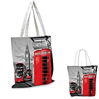 "London Canvas Messenger Bag London Telephone Booth in The Street Traditional Local Cultural Icon England UK Retro Canvas Beach Bag Red Grey. 16""x18""-13"""