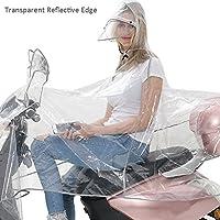 Hete-supply - Impermeable transparente para moto, extragrande, con visera doble, para hombre y mujer, poncho impermeable para protección total con barras reflectantes