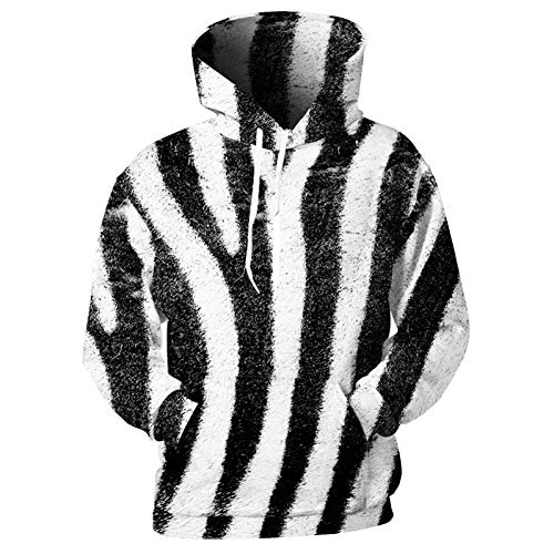 WZYDWY Design Herren Hoodies 3D Print Zebra Sweatshirts Schwarz Weiß Streifen Mantel Pullover Frauen Männlich Mit Kapuze Dünnes Oberteil -