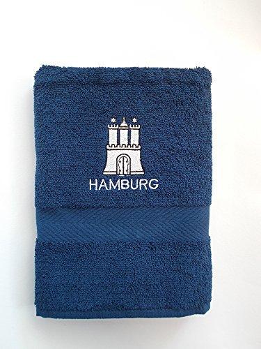 Großes Frotteehandtuch mit gesticktem Hamburg Wappen Marineblau 100% Baumwolle 50 x 100 cm (Hafen & Handtuch Strand)
