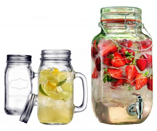 GFSmart Durable Drinkware Set Clear Glass 3.5 liter Locking Clamp Beverage Dispenser with Two